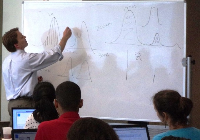 SECIM's Dr. Tim Garrett illustrates metabolomics peak analysis to the 2015 SECIM Workshop attendees.